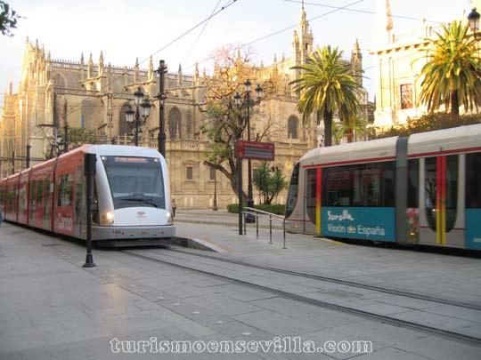 Dos tranvías en una parada con la Catedral y el Archivo de Indias al fondo